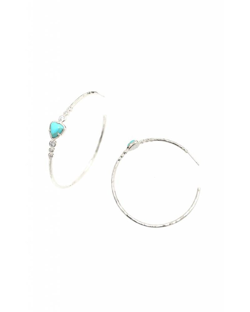 Tai Hammered Silver Hoops with Turquoise