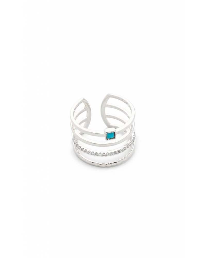 Tai Silver Stack Ring with Turquoise