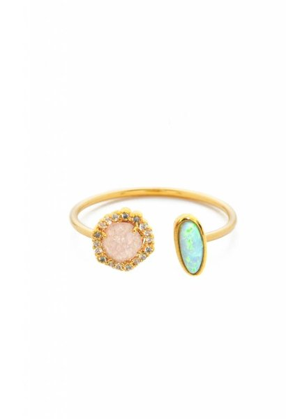 Tai Pink Rock Crystal and Opal Ring