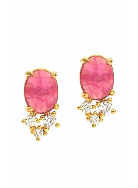 Tai Pink Rock Crystal Studs