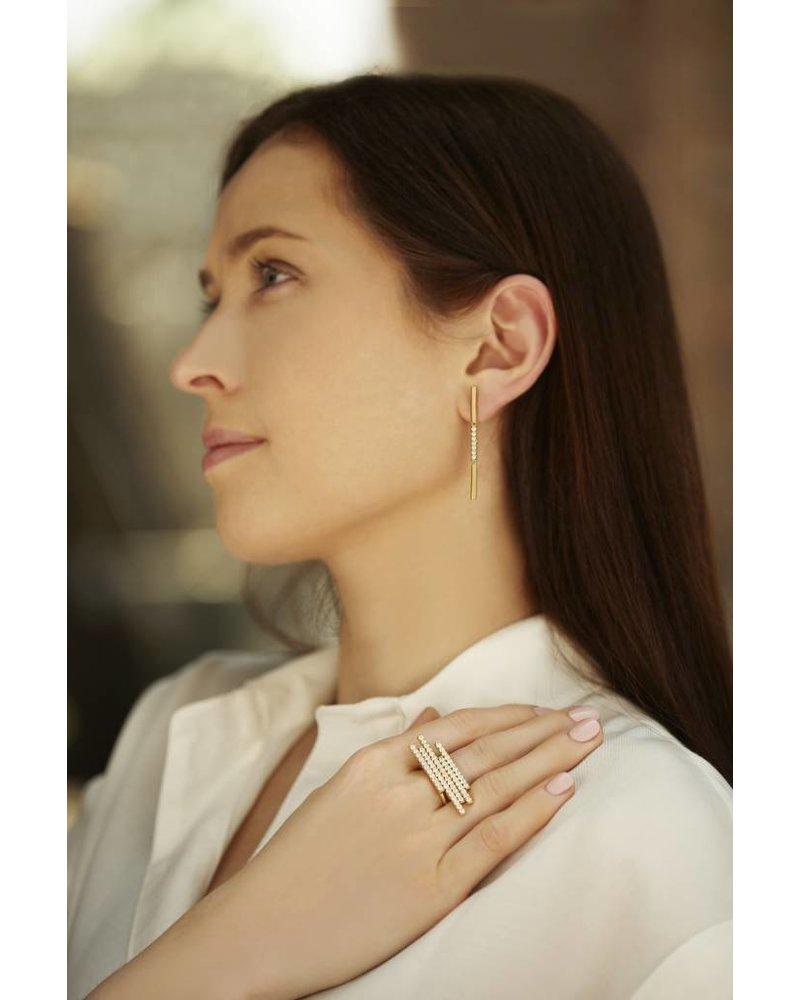 Carelle Moderne Pave Diamond Bar Ring