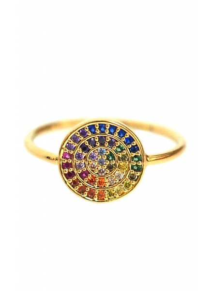 Pave Rainbow Disc Ring