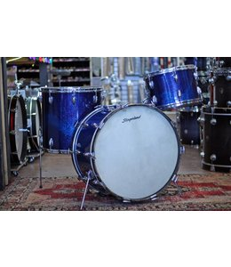 Slingerland Vintage Slingerland 1950's Blue Sparkle 3ply Shell Pack w/ Maple Re-Rings