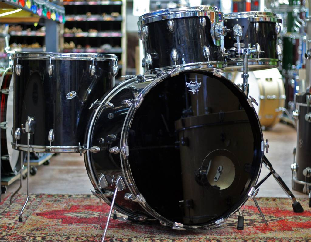 Used 1980 S Slingerland 4pc Black Shell Pack Rupps Drums