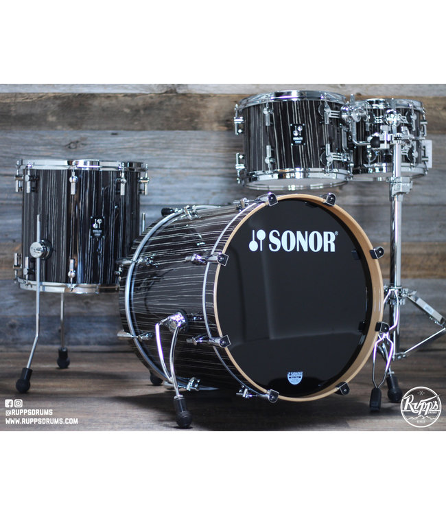 Sonor Sonor Prolite Studio 4pc Shell Pack Ebony White Stripe Lacquer