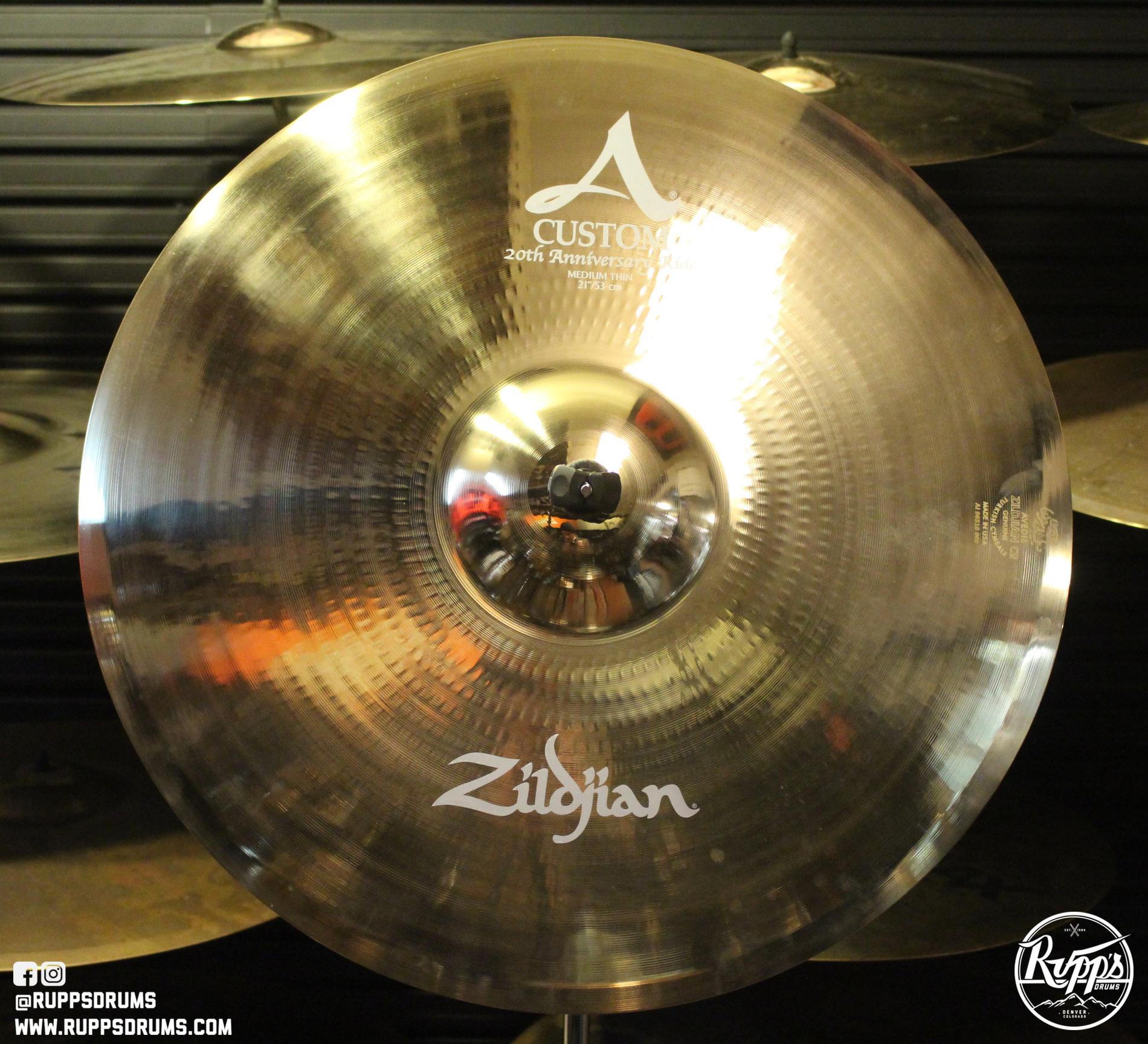 """Zildjian 21/"""" A Custom 20th Anniversary Ride Brilliant Finish"""