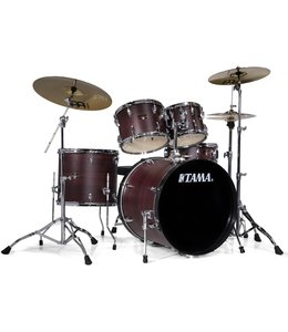 "Tama Tama Imperialstar 5pc Drum Set w/ 22"" Bass Drum and Meinl HCS Cymbals Burgundy Walnut Wrap"