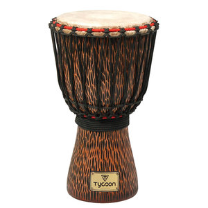 TYCOON Tycoon Hand-Carved Chiseled Orange Series Djembe