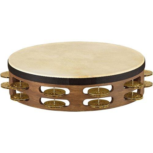 Meinl Meinl Headed Vintage Wood Hammered Brass 2 Row Jingles Tambourine in Walnut Brown