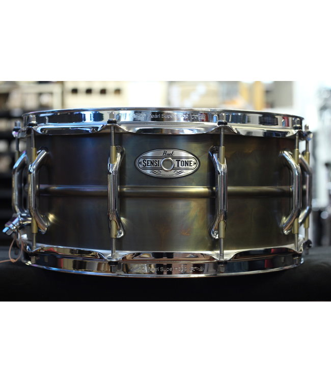 "Pearl Used Pearl Sensitone 6.5x14"" Patina Brass Snare Drum"