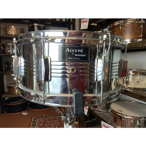 """Ludwig Used Ludwig Accent 6.5""""x14"""" Steel Snare Drum"""