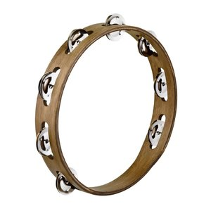Meinl Meinl Wood Tambourine Steel Jingles1 Row Walnut Brown