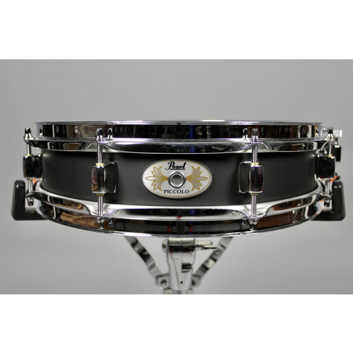 "Pearl Pearl 13x3"" Steel Piccolo Black Lacquer Shell Snare Drum"