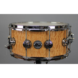 "DW DW Collectors 6.5x14"" Quilted Moabi Over Maple Snare Drum - Chrome Hardware"