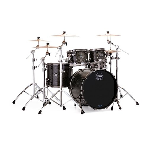 Mapex Mapex Saturn V Exotic Rock 4 Piece Shell Pack w/o Snare Flat Black Maple Burl