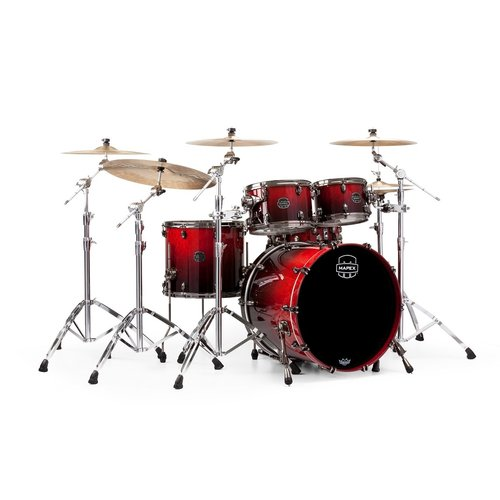 Mapex Mapex Saturn V Exotic Rock 4 Piece Shell Pack w/o Snare Cherry Mist Maple Burl