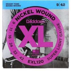 D'Addario Nickel Wound Electric Guitar Strings, Super-Light, 09-42