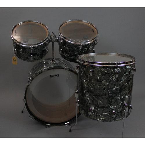 Vintage Slingerland 1970s Black Diamond Pearl 4pc Shell Pack