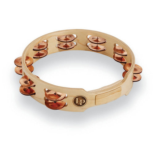 "LP LP Accent 10"" Double Row Wood Tambourine with Copper Jingles"