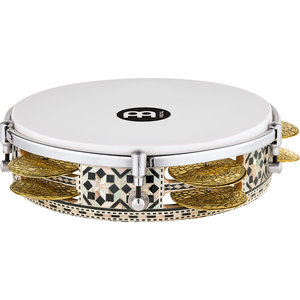 "Meinl Meinl Percussion 8 3/4"" Artisan Edition Riq Drum, White Burl, Mosaic Royale"