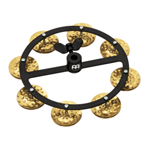 "Meinl Meinl 5"" Headliner Hi Hat Tambourine Hammered Brass Jingles 1 Row Black"