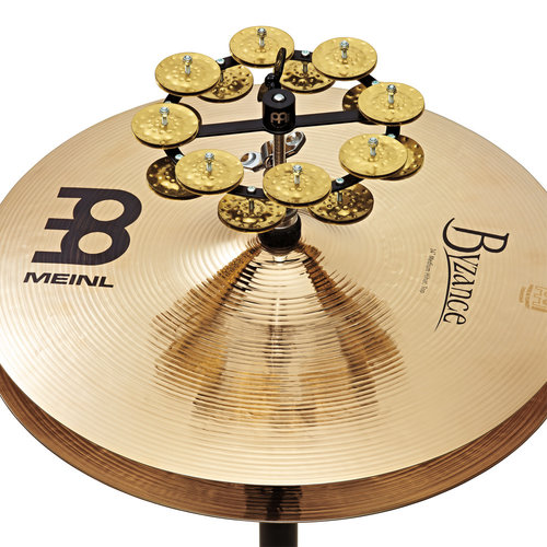 "Meinl Meinl 5"" Headliner Hi-Hat Tambourine Steel Hammered Brass 2 Row Black"