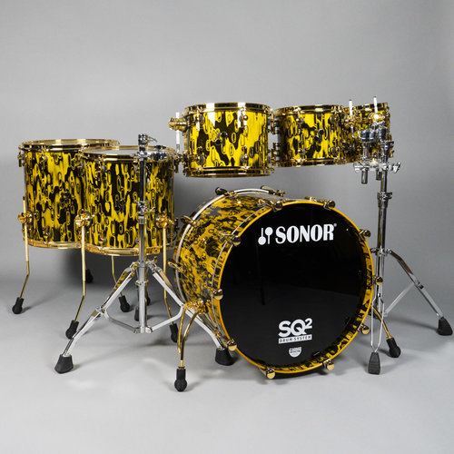 Sonor Sonor SQ2 Thin Beech 6pc Shell Pack-Yellow Tribal w/ Gold Hardware