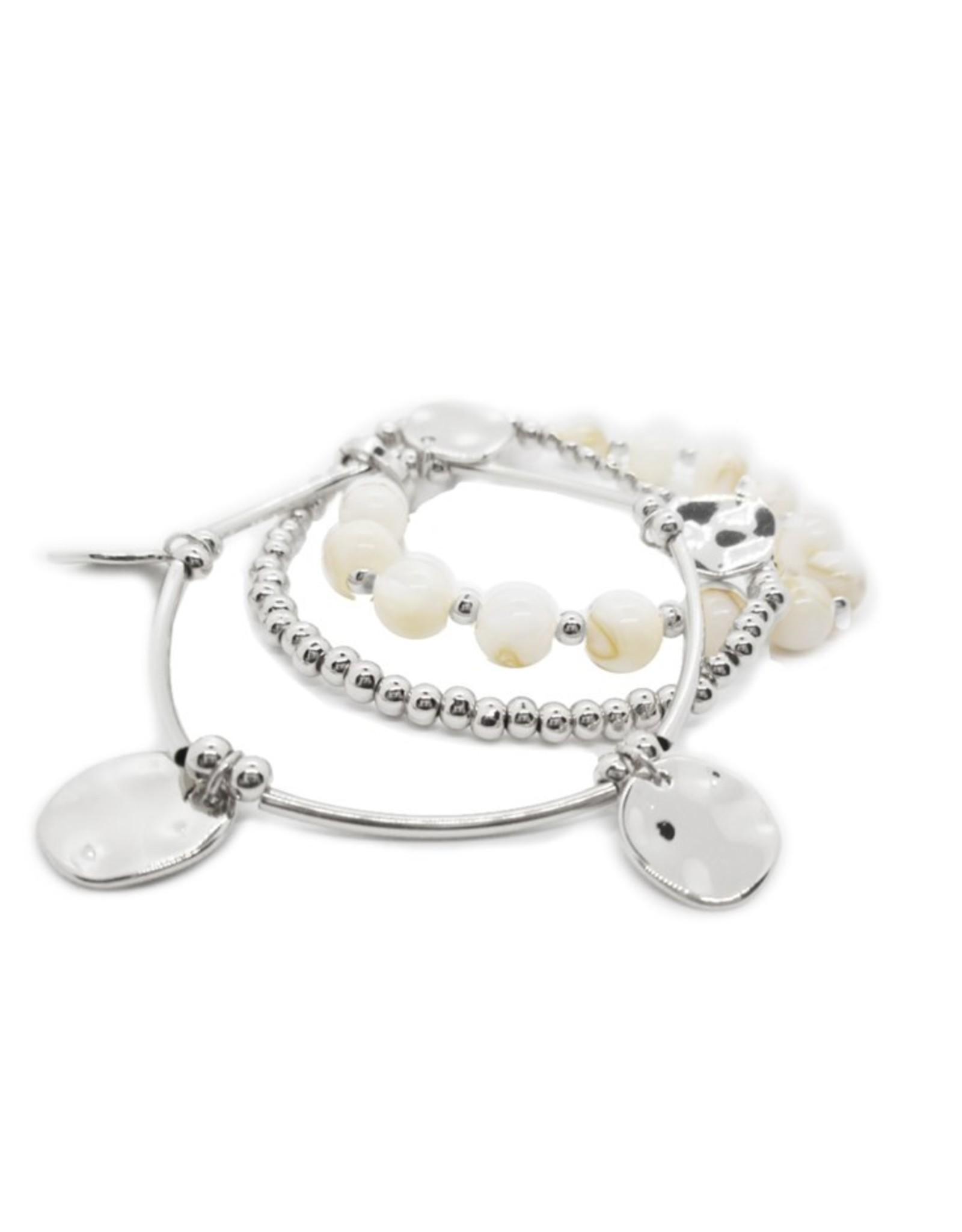 Silver & White Shell Bracelets