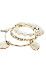 Bracelets coquillages or et blanc