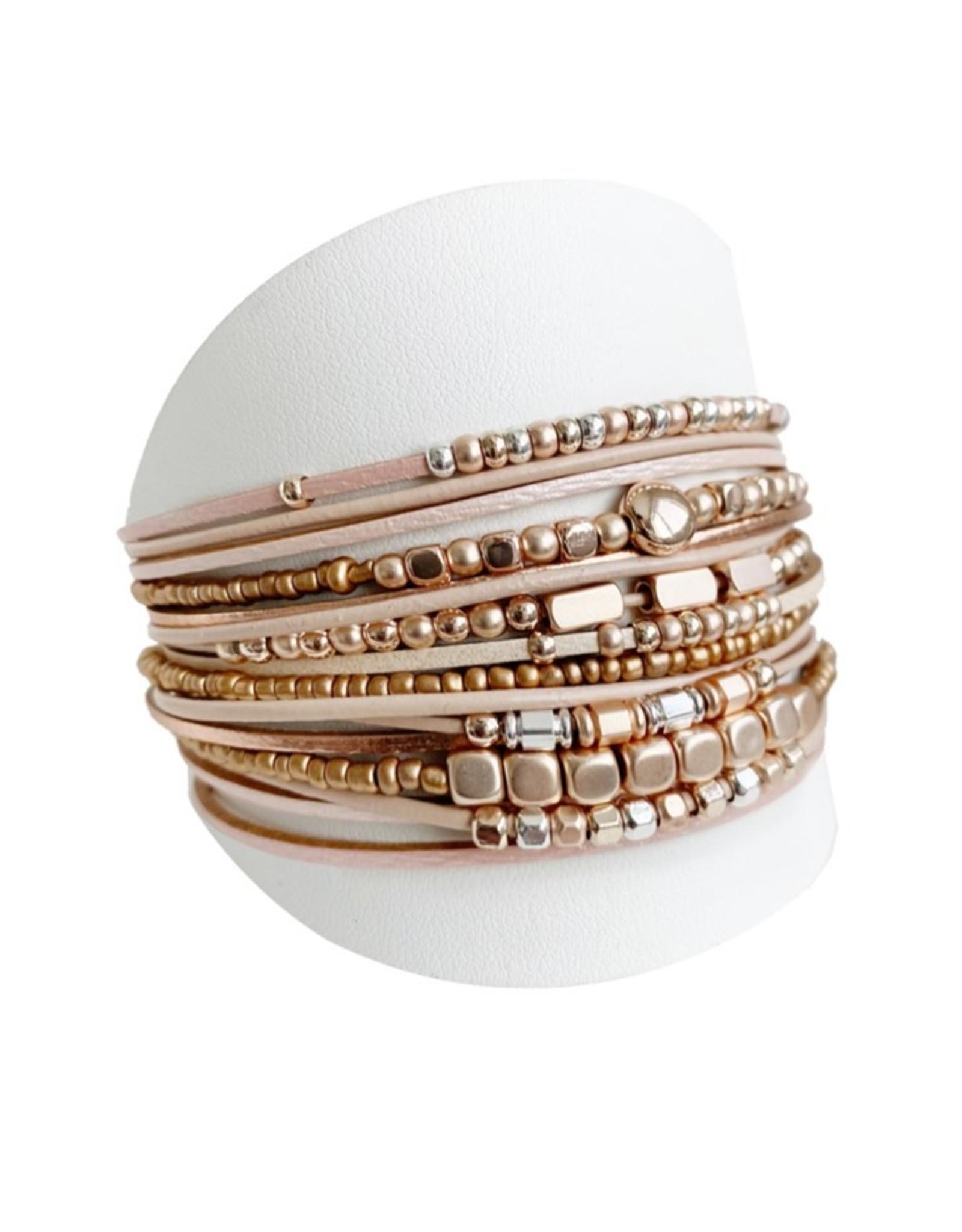 Nude & Rose Gold Wide Multi Bracelet