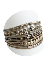 Bracelet large multirang taupe et or