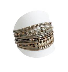 Taupe & Gold Wide Multi Bracelet