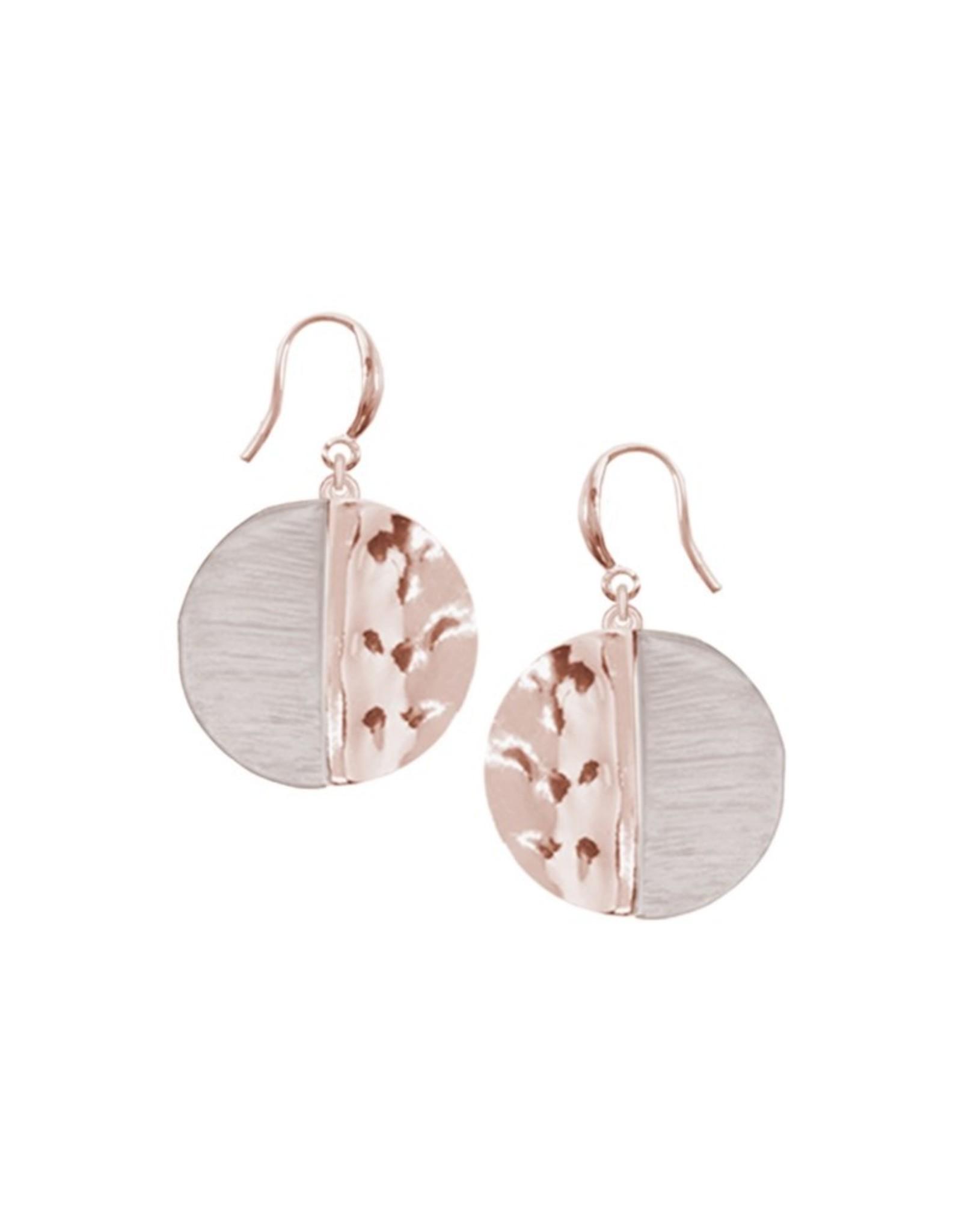 Boucles d'oreilles  rondes rose et or rose