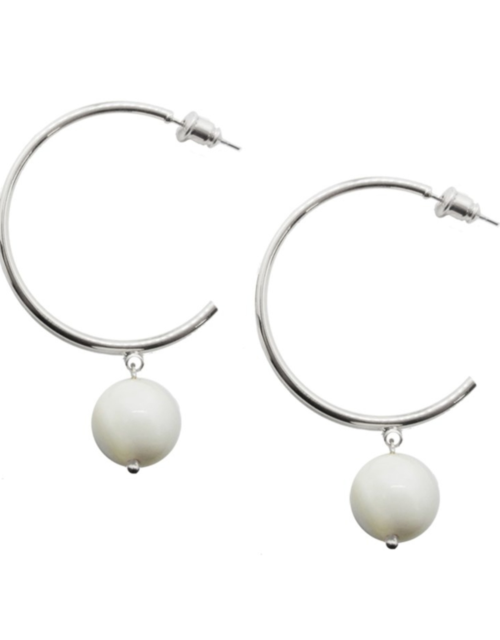 White & Silver Hoop Earrings