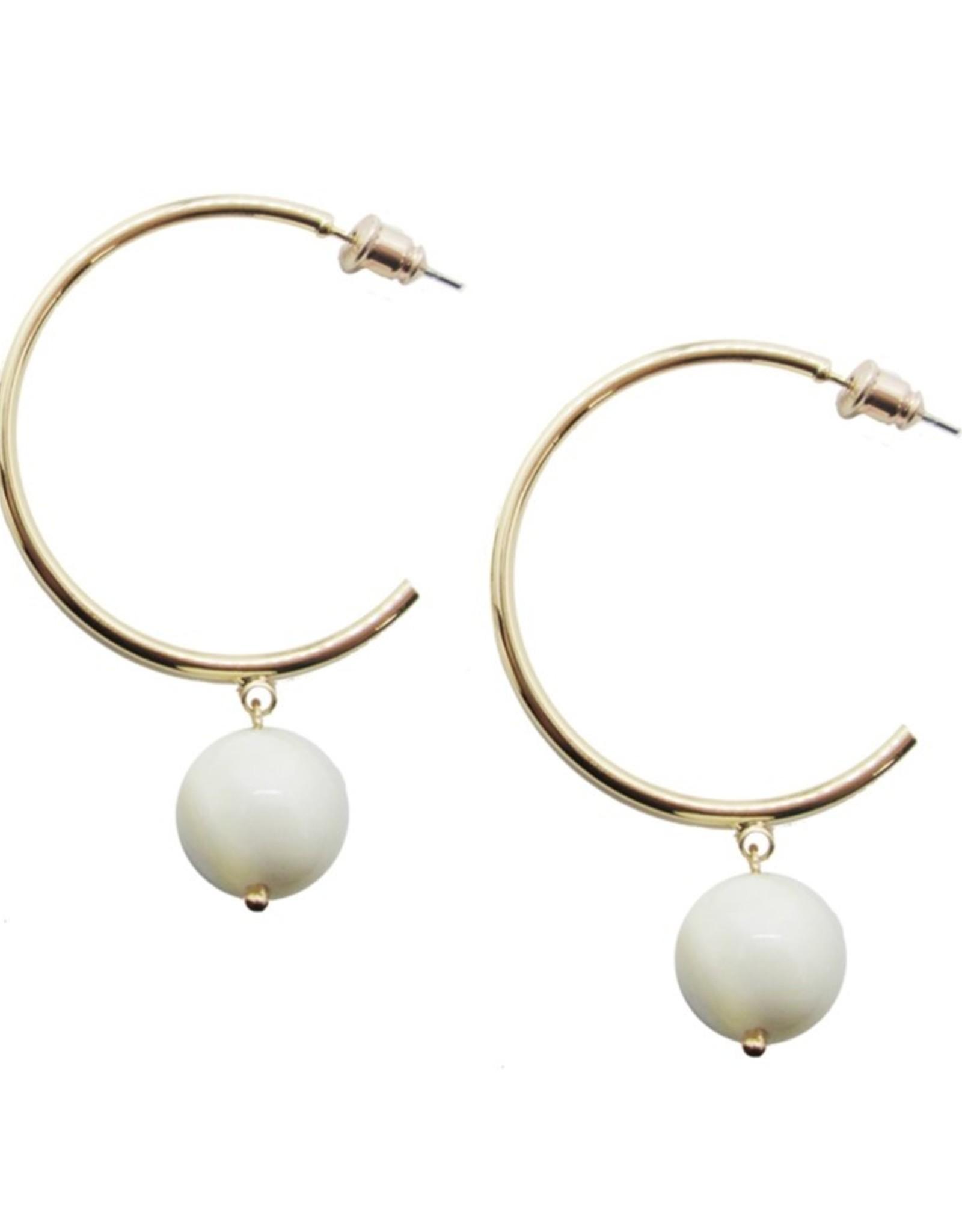 White & Gold Hoop Earrings