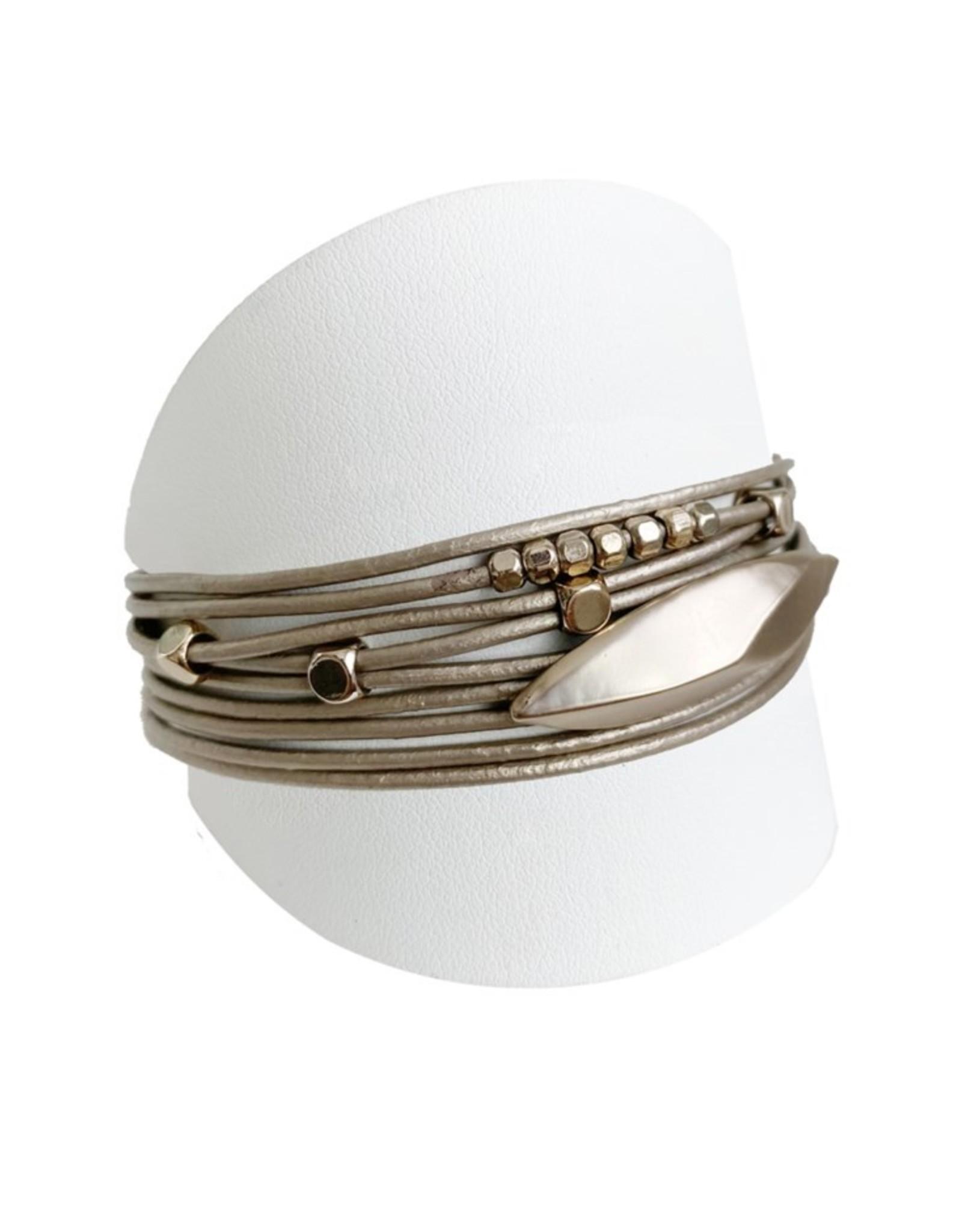 Bracelet multirang taupe et or