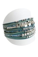Bracelet large multirang turquoise et argent