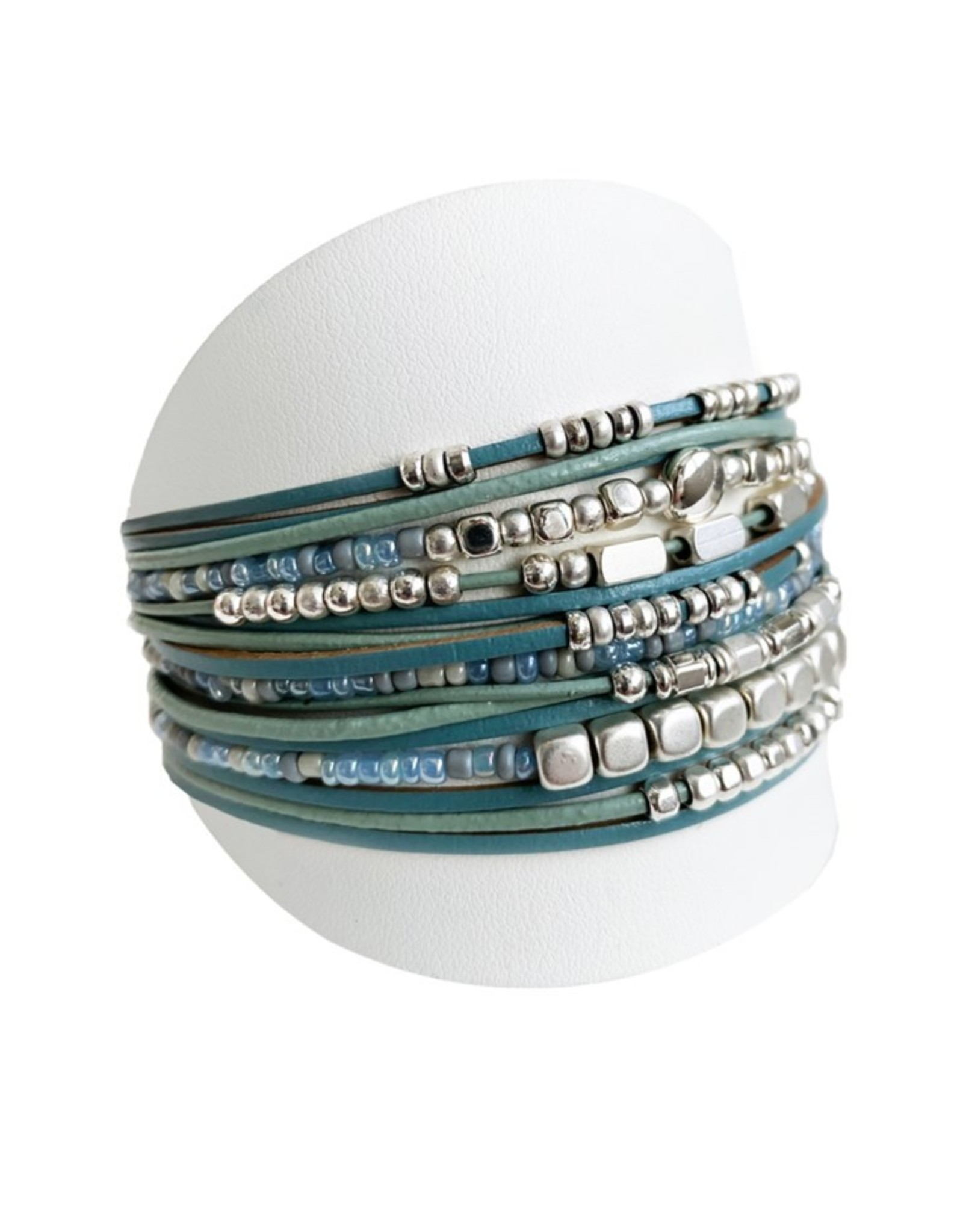 Turquoise & Silver Wide Multi Bracelet