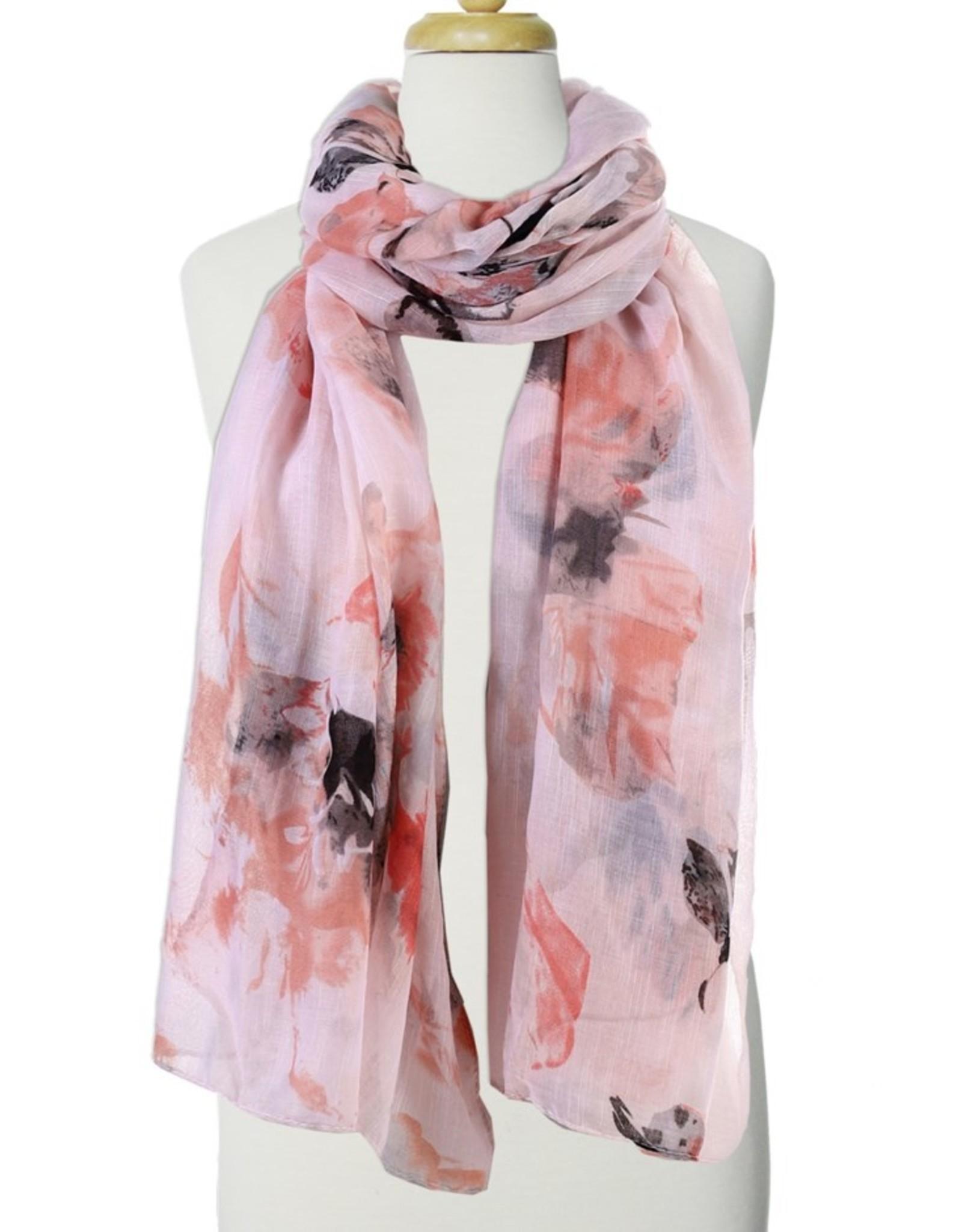 Écharpe imprimée fleurs mulit rose
