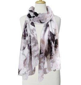 Écharpe imprimée fleurs multi gris
