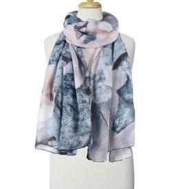 Écharpe ondulée avec imprimé fleurs multi bleu
