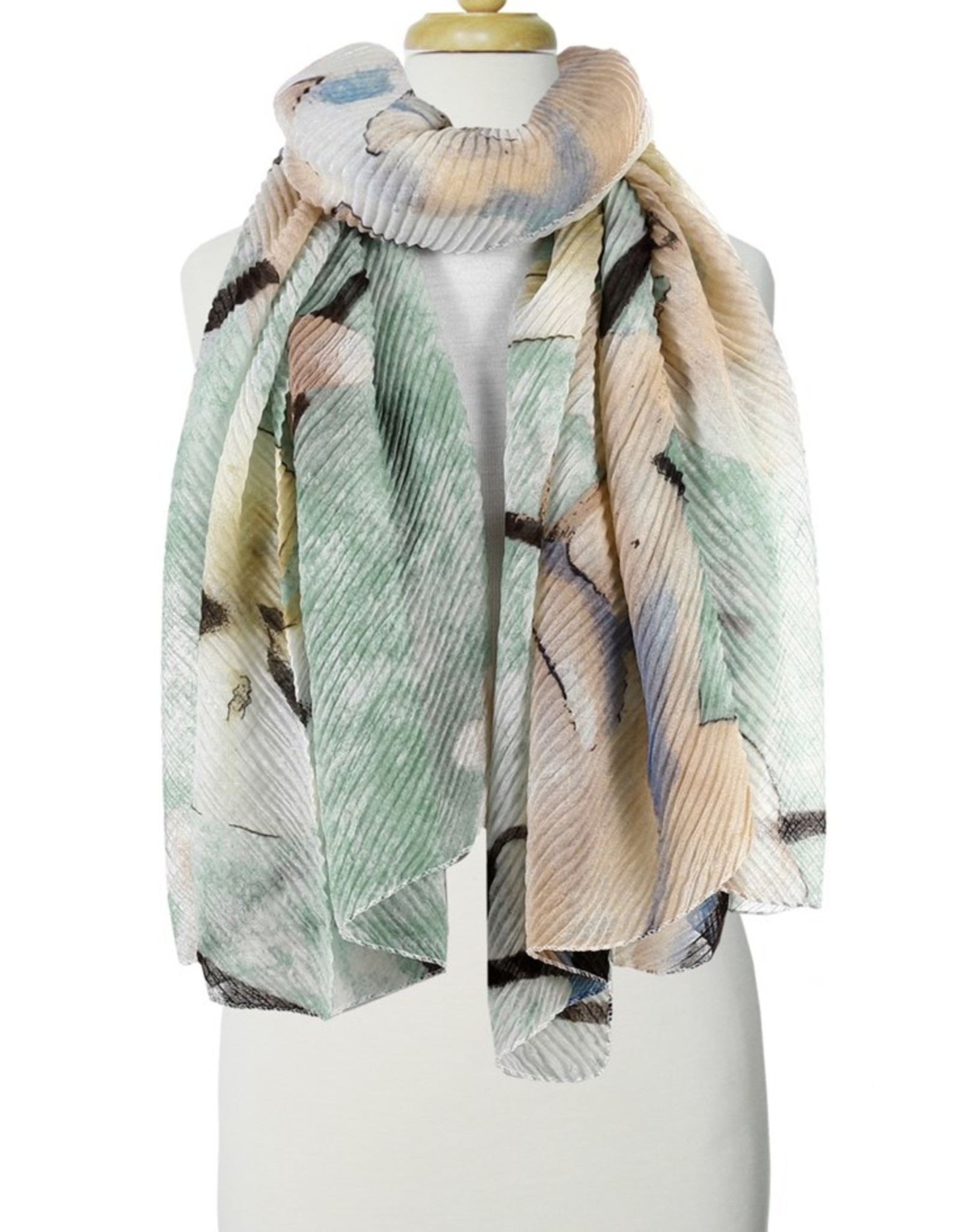 Aqua Mix Rippled Flower Print Scarf