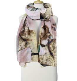 Yellow & Pink Mix Rippled Flower Print Scarf