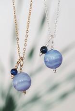 Collier Globe agate bleue et cyanite argent