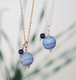 Silver Blue Lace Agate & Kyanite Globe Necklace