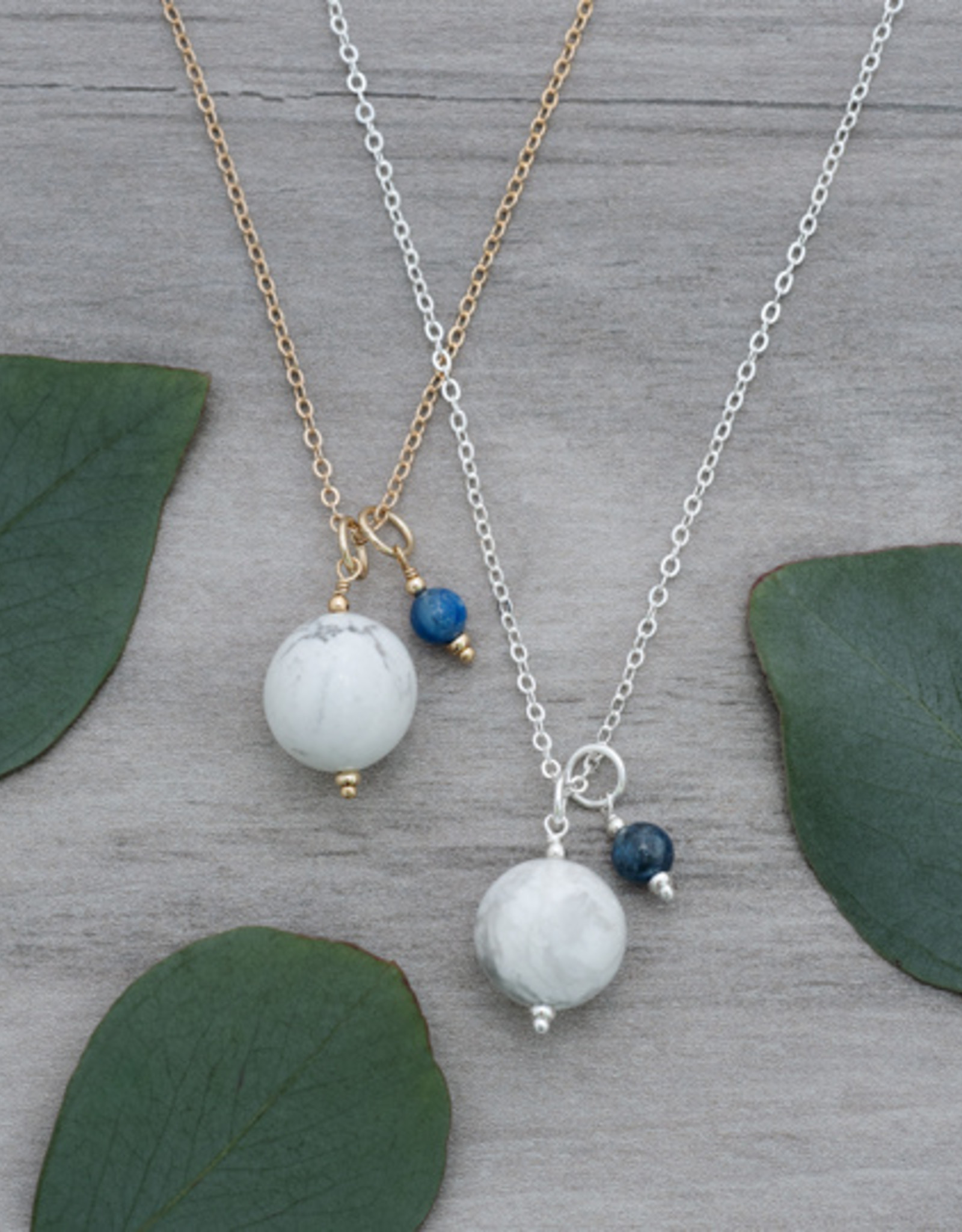 Gold Howlite & Kyanite Globe Necklace