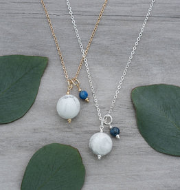 Silver Howlite & Kyanite Globe Necklace