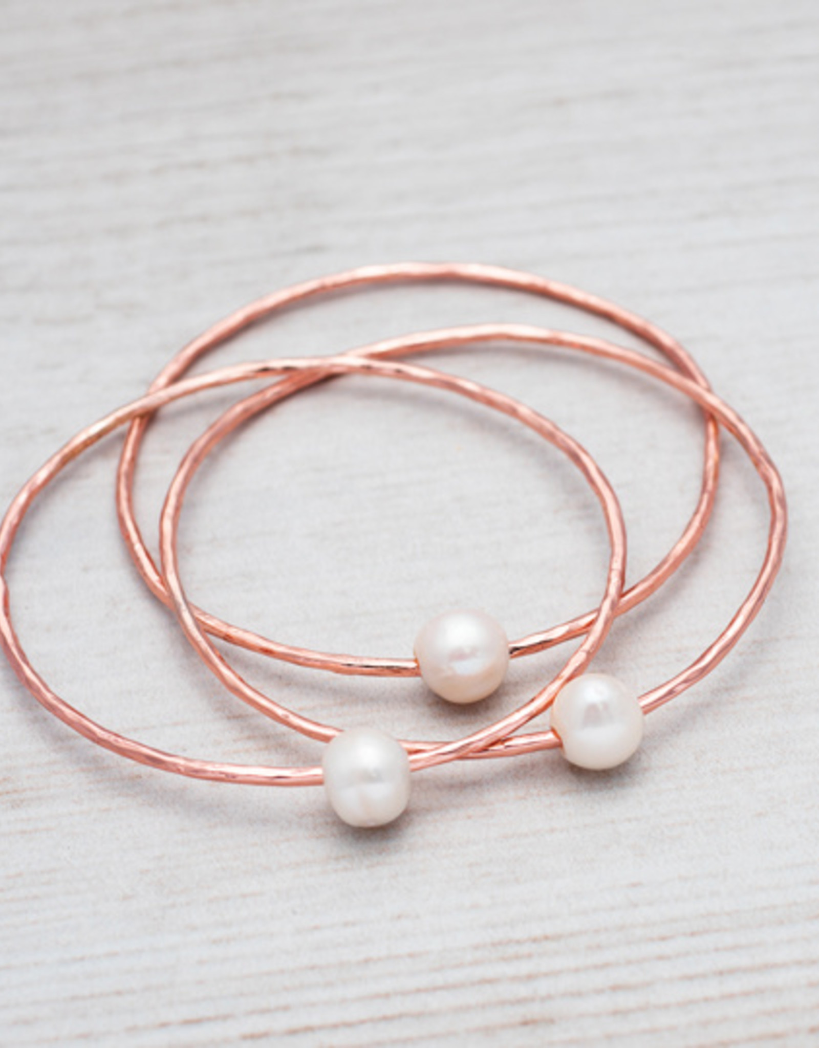 Rose Gold White Pearl Honest Bangle