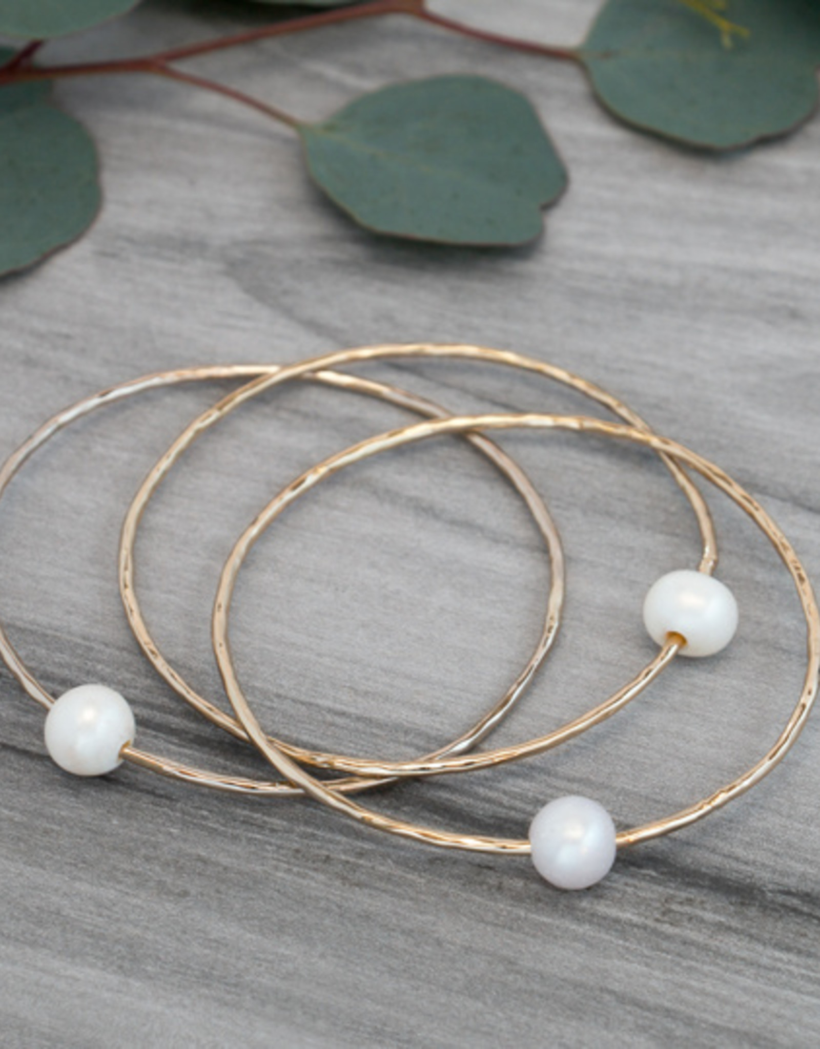 Gold White Pearl Honest Bangle