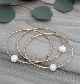 Gold White Pearl Honest Bangle